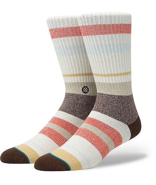 Stance Topanga Stripe Off White, Brown, & Orange Crew Socks