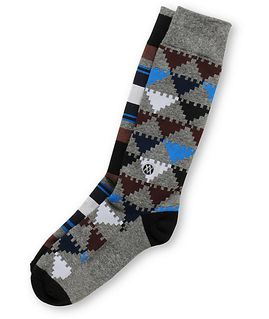 Stance Vortex Print Grey Crew Socks