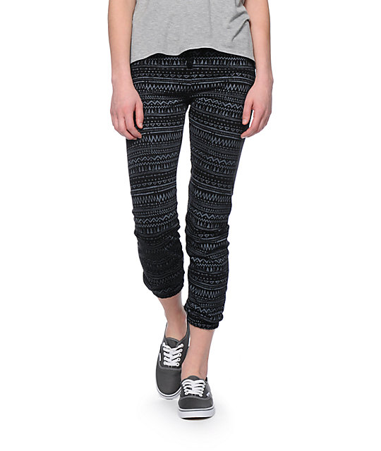Starling Black & Grey Tribal Print Jogger Pants