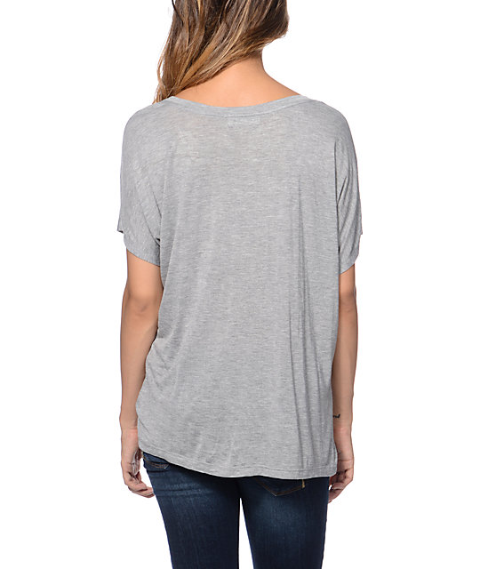 Starling Cow Skull Grey Scoop Neck T-Shirt