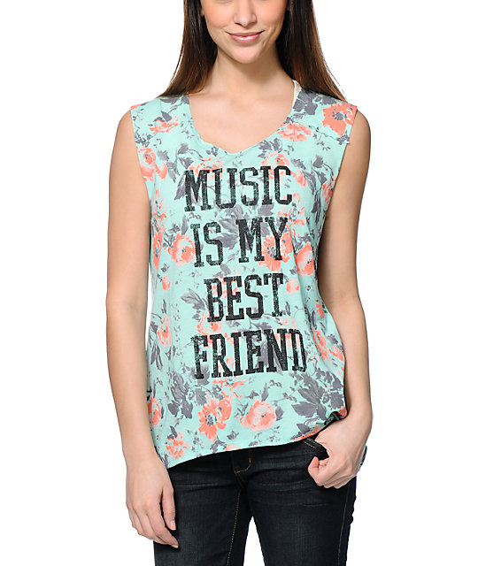 Starling Music Best Friend Mint Floral Print Muscle Tank Top