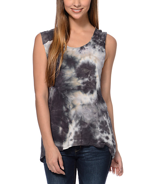 Starling Slashed Back Black Tie Dye Muscle Tank Top