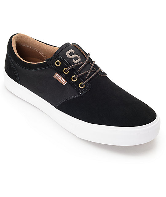 State Elgin Black, Brown & White Skate Shoes