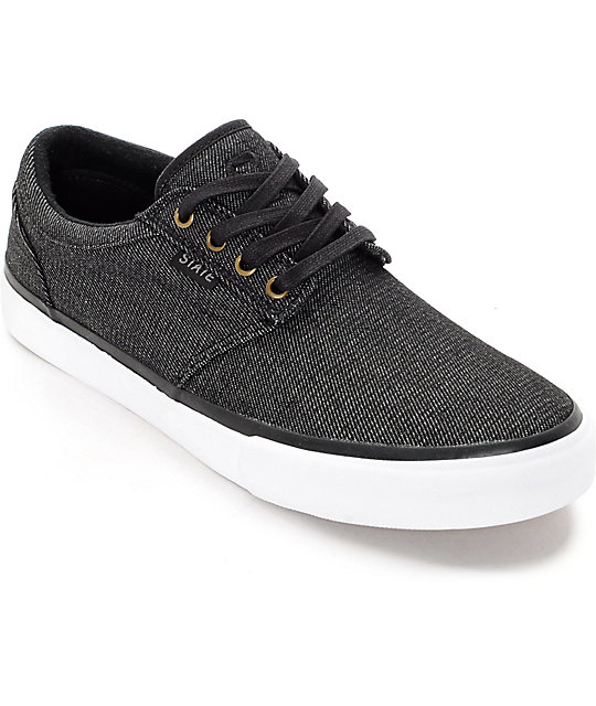 State Elgin Black Denim Skate Shoes