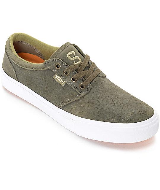 State Elgin Jordan Sanchez Olive and White Skate Shoes