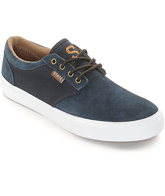 State Elgin Navy & Brown Suede Skate Shoes