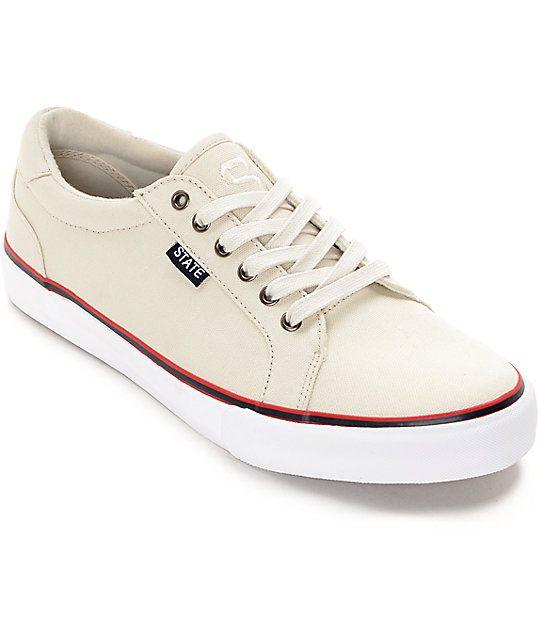 State Hudson Cream & White Canvas Skate Shoes
