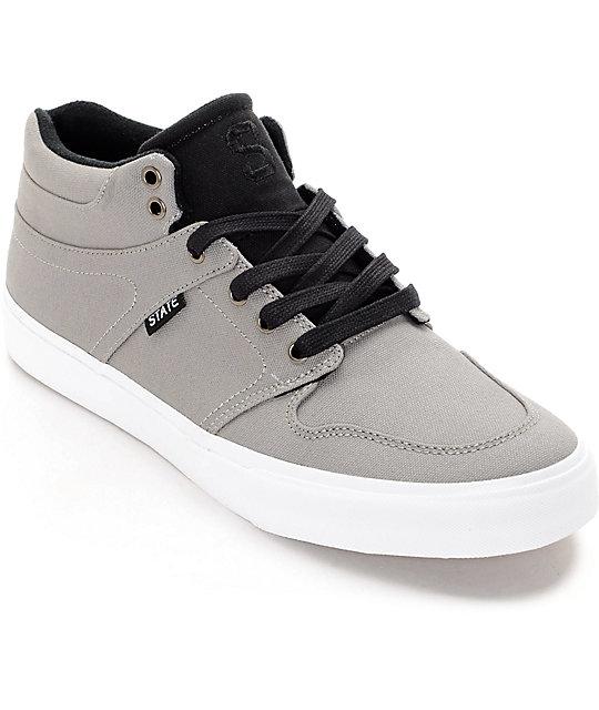 State Mercer Grey & Black Canvas Skate Shoes