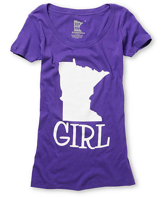 State Of Mind Girl Purple Scoop Neck T-Shirt