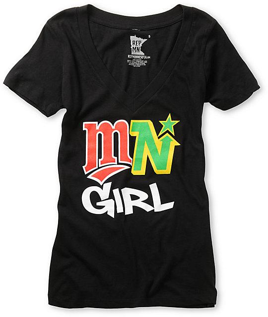 State Of Mind Logos Black V-Neck T-Shirt