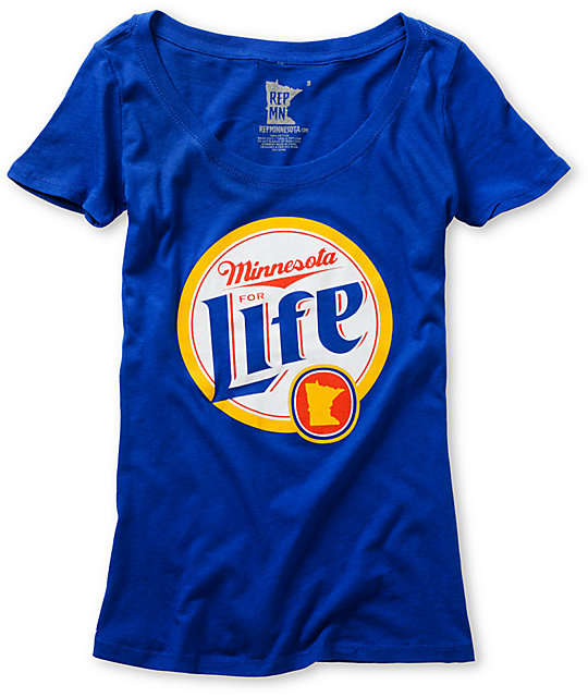 State Of Mind Minnesota For Life Blue Scoop Neck T-Shirt