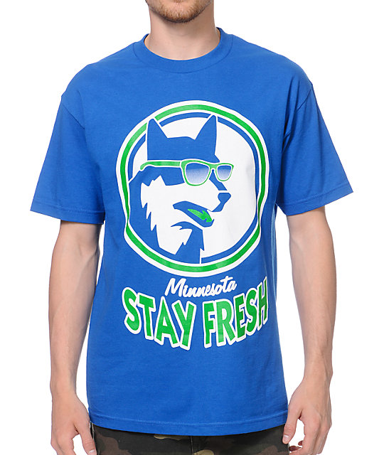 State Of Mind Stay Fresh Wolf Blue T-Shirt