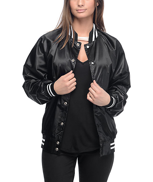 Stay Cute Fight Like A Girl Black Bomber Jacket