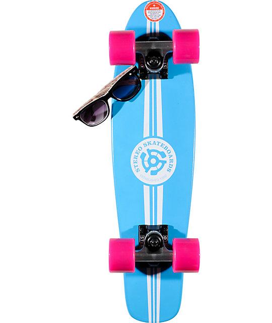 Stereo Wood Vinyl Cruiser Blue 22 5 Quot Complete Skateboard