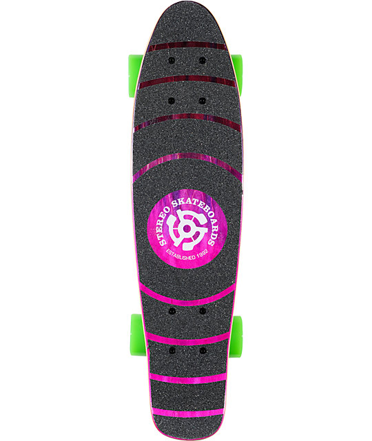 "Stereo Wood Vinyl Cruiser Purple & Pink 22.5""  Complete Skateboard"
