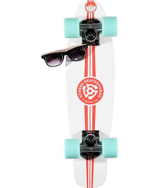 Stereo Wood Vinyl Cruiser White & Pink 22.5