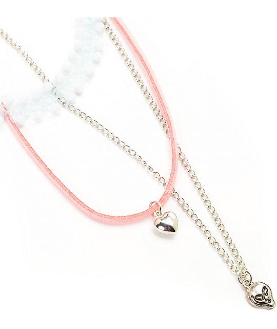 Stone + Locket Baby Blue Choker Heart & Alien Necklace 3 Pack