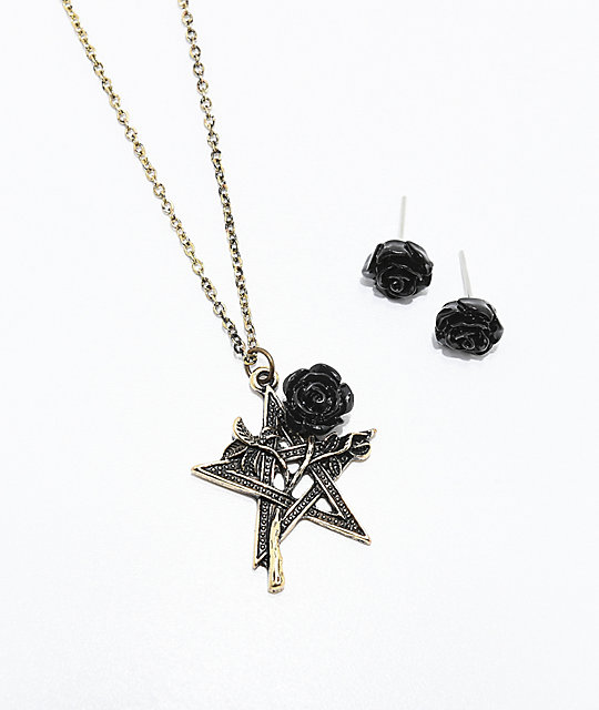 StoneLocket Collar Paquete Y 2 Rose Pendientes De Black PZkuiOTX