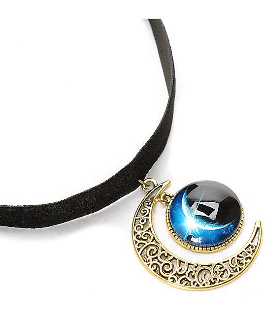 Stone + Locket Black Velvet Moon Pendant Choker