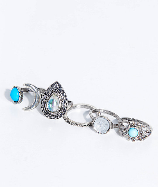 Stone + Locket Blue Moonstone Ring 5 Pack