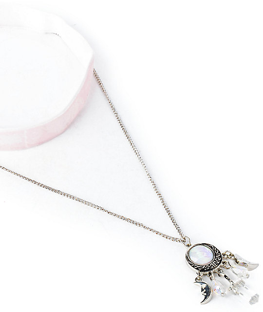 Stone + Locket Crescent Moon Stone Necklace Set