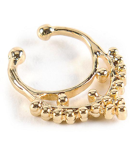 Stone Locket Gold Faux Septum Nose Ring Zumiez