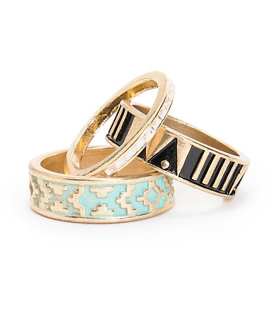 Stone + Locket Multipack Gold Tribal Rings