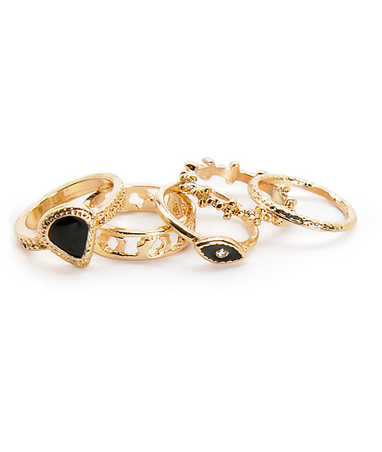 Stone + Locket Seeing Eye 5 Pack Gold & Black Rings