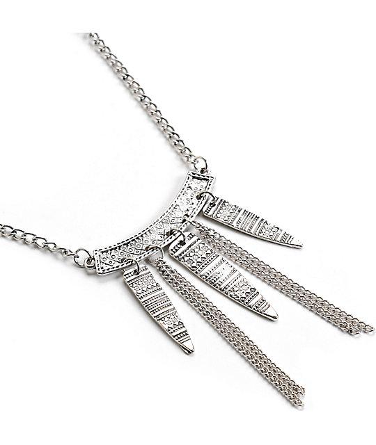 Stone + Locket Silver Tribal Etch Spike Necklace