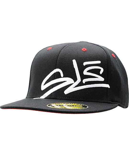 Street League Skateboarding Marker Black & Red 210 Flexfit Fitted Hat