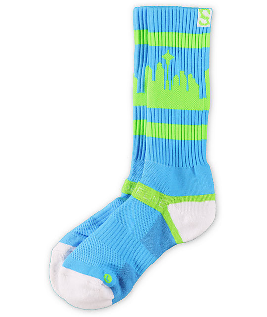 Strideline Classic Lime Green & Blue City Socks