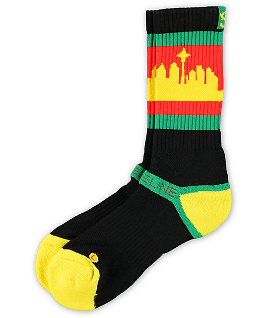 Strideline Classic SeaTown Black & Rasta Crew Socks