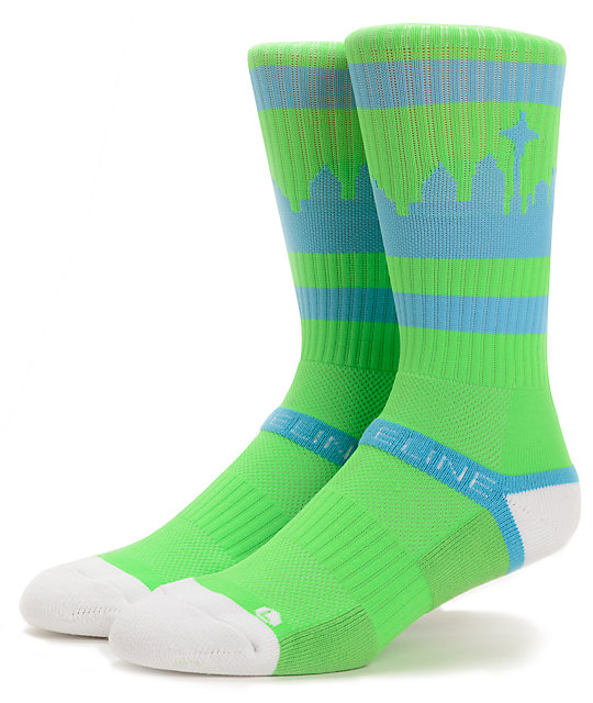 Strideline SeaTown Bright Green & Blue Crew Socks