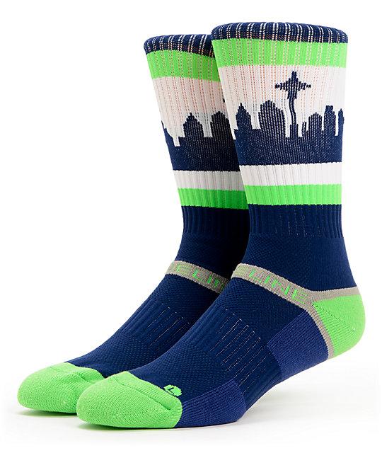 Strideline SeaTown Navy & Green Crew Socks