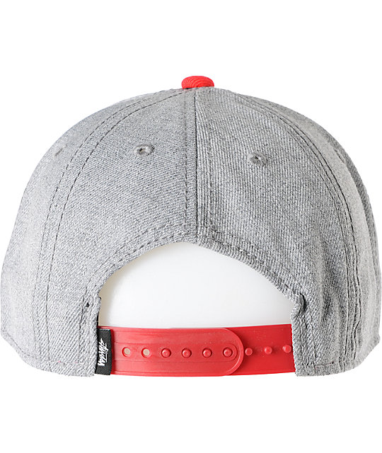 Stussy 8 Panel Heather Grey & Red Snapback Hat