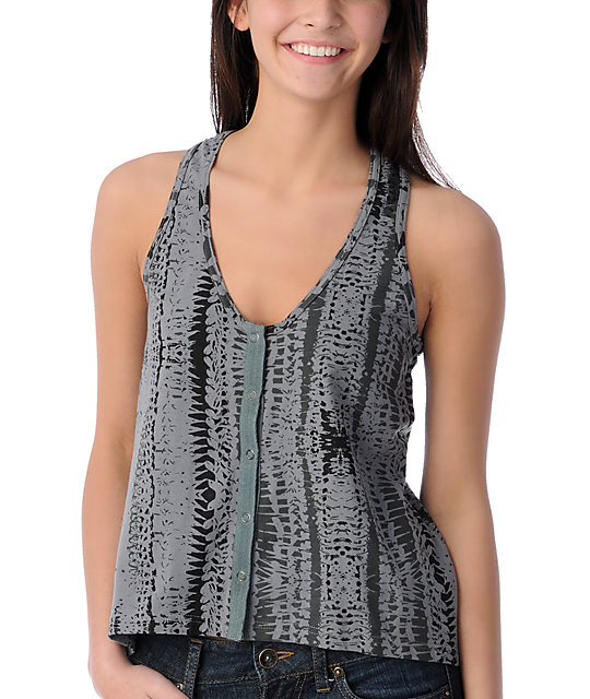 Stussy Badlands Grey Snap Tank Top