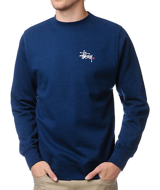 Stussy Basic Logo Navy Crew Neck Sweatshirt