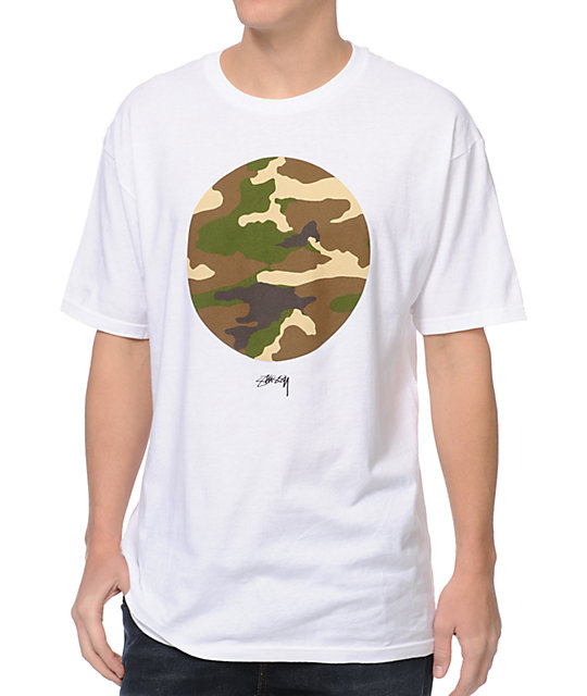 Stussy Camo Circle White T-Shirt