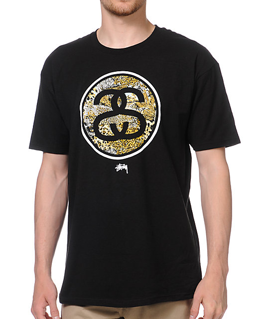 Stussy Cheetah Link Black T-Shirt