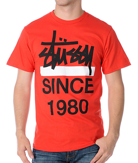 Stussy Chisel Since 80 Red T-Shirt