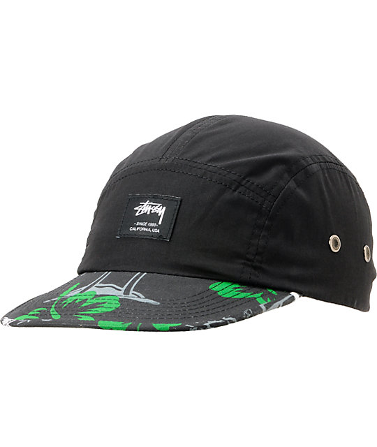 Stussy College Floral Black Camper 5 Panel Hat