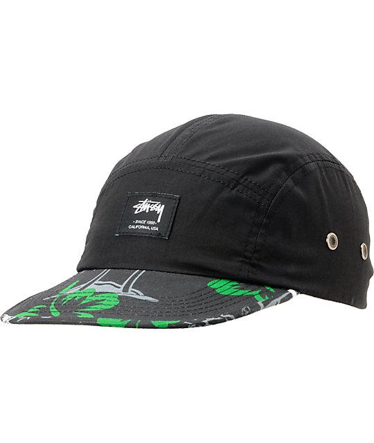 Stussy College Floral Black Camper 5 Panel Hat