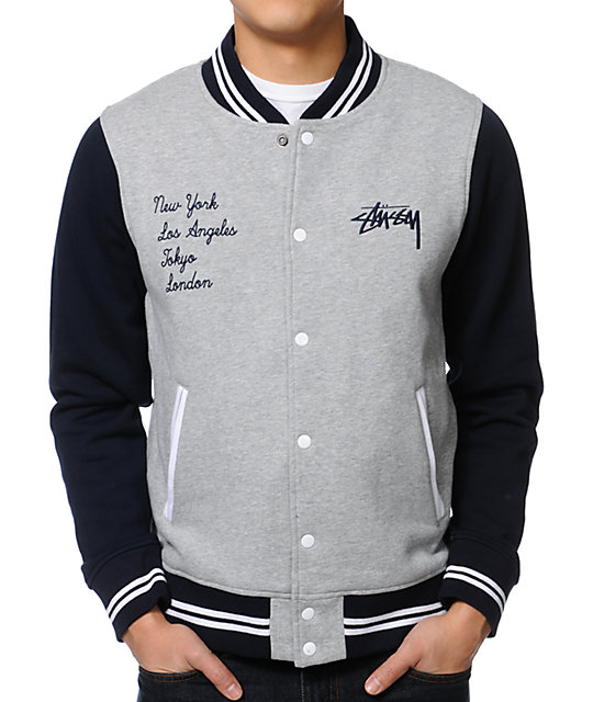 Stussy East West Navy Varsity Jacket