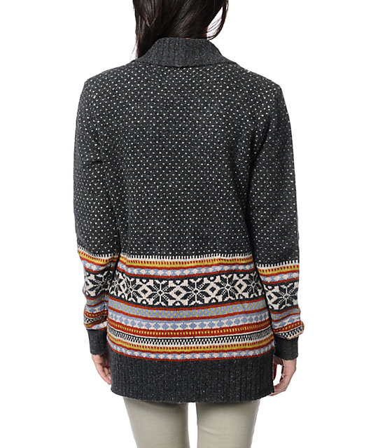Stussy Fair Isle Charcoal Knit Cardigan Sweater