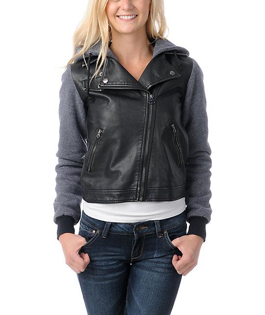 Stussy Faux Leatherette Black Hoodie Jacket