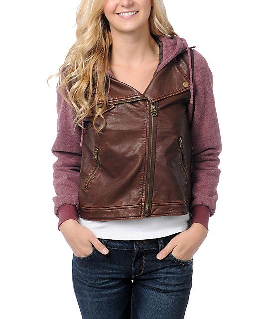 Stussy Faux Leatherette Rust & Brown Hoodie Jacket