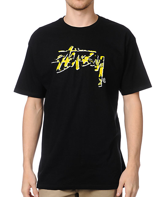 Stussy Flower Stock Black T-Shirt