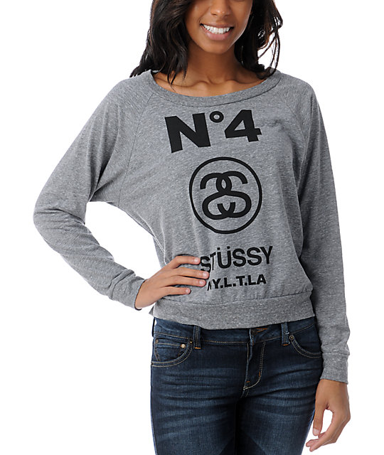 Stussy Girl No. 4 Heather Grey Boyfriend Raglan Top