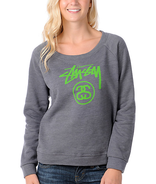 Stussy Girl Stockline Charcoal & Green Pullover Sweatshirt