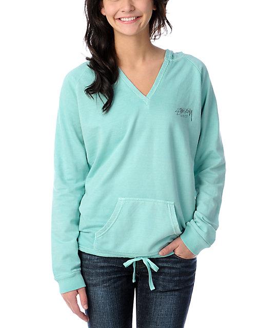 Stussy Girl Wear Aqua V-Neck Pullover Hoodie